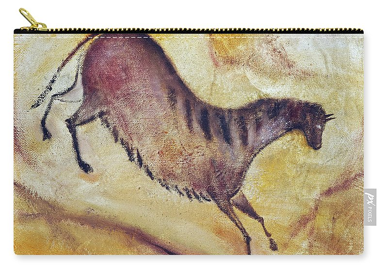 Prehistoric Carry-all Pouch featuring the painting Horse A La Altamira by Michal Boubin