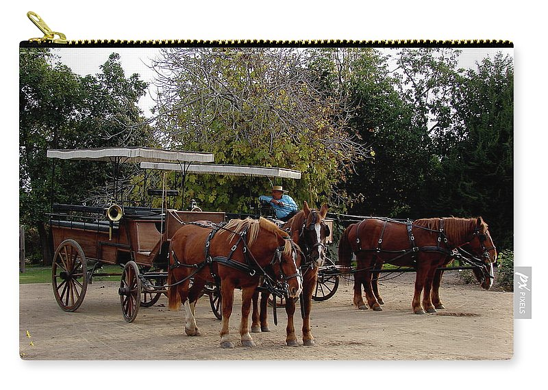Colchagua Carry-all Pouch featuring the photograph Horse And Carriage by Brett Winn