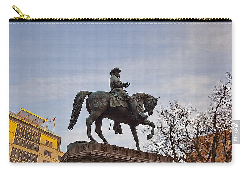 Statue Carry-all Pouch featuring the photograph Horse And Rider Monument by Amy Jackson