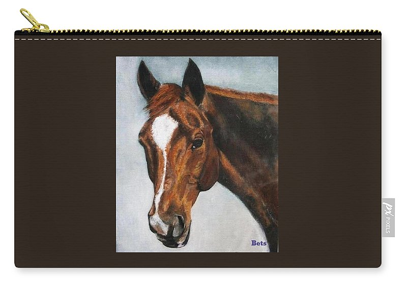 Horse Carry-all Pouch featuring the painting Horse Art Portrait Of Horse Maduro by Bets Klieger