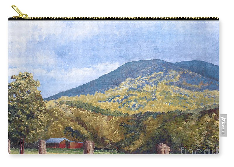 Landscape Carry-all Pouch featuring the painting Horse Barn At Cades Cove by Todd Blanchard