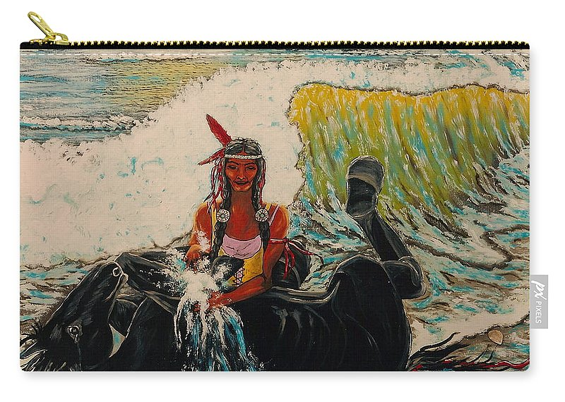 Horses Carry-all Pouch featuring the painting Horse Bath by V Boge