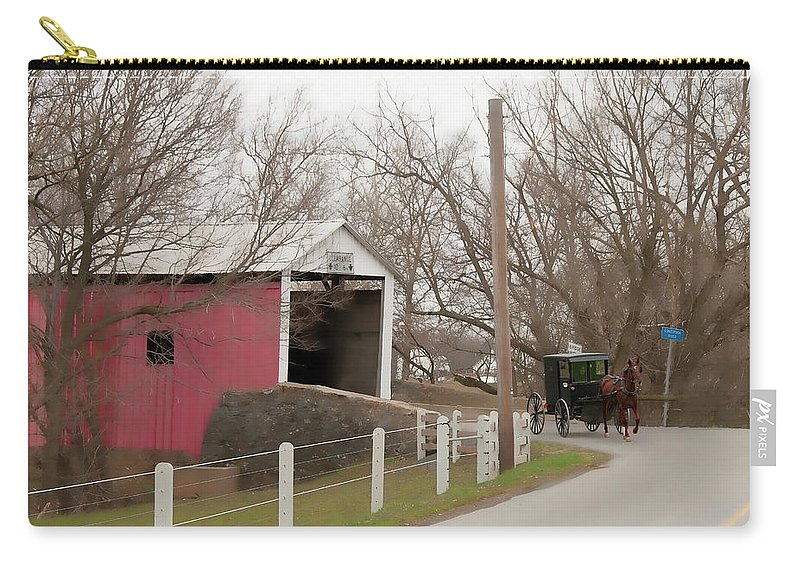 Bridge Carry-all Pouch featuring the photograph Horse Buggy And Covered Bridge by David Arment
