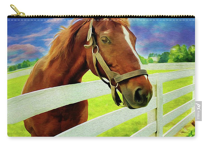 Horse By Nicholas Nixo Efthimiou Carry-all Pouch featuring the painting Horse By Nicholas Nixo Efthimiou by Never Say Never