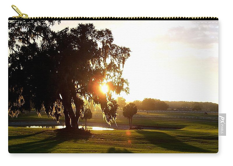 Sunset Carry-all Pouch featuring the photograph Horse Country Sunset by Kristen Wesch
