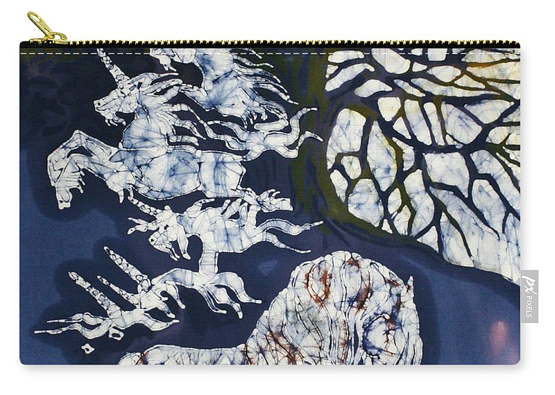 Horse Carry-all Pouch featuring the tapestry - textile Horse Dreaming Below Trees by Carol Law Conklin