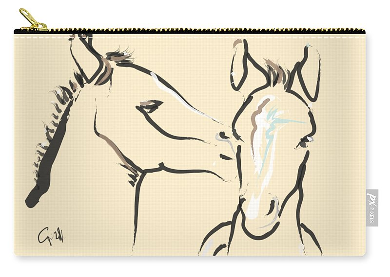 Foal Carry-all Pouch featuring the painting Horse-foals-together 6 by Go Van Kampen