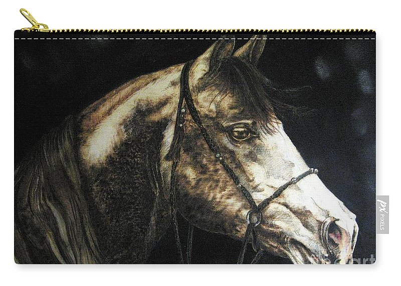 Horse Carry-all Pouch featuring the pyrography Horse by Ilaria Andreucci