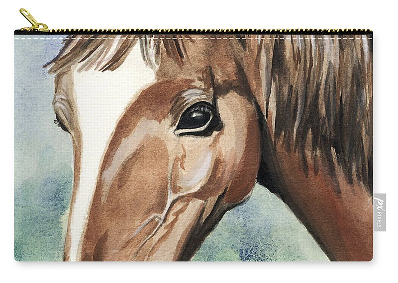 Horse Carry-all Pouch featuring the painting Horse In Love by Alban Dizdari