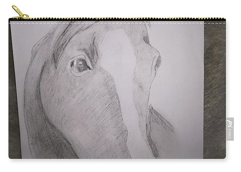 Carry-all Pouch featuring the drawing Horse On Paper by Valentino Marjanovic