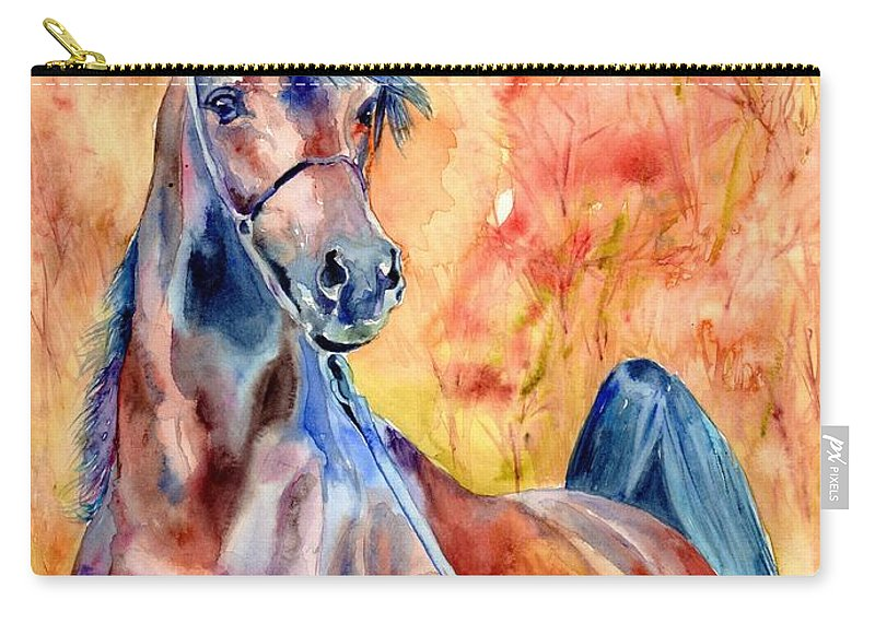 Horse Carry-all Pouch featuring the painting Horse On The Orange Background by Suzann Sines