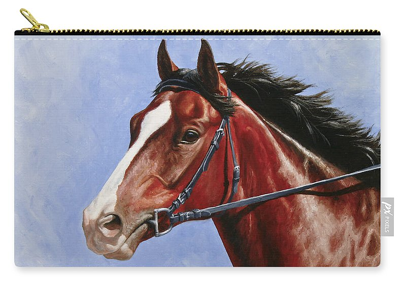 Horse Carry-all Pouch featuring the painting Horse Painting - Determination by Crista Forest