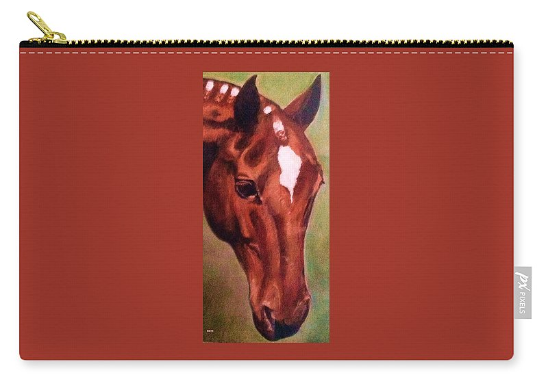 Horse Carry-all Pouch featuring the painting Horse Portrait Horse Head Red Close Up by Bets Klieger