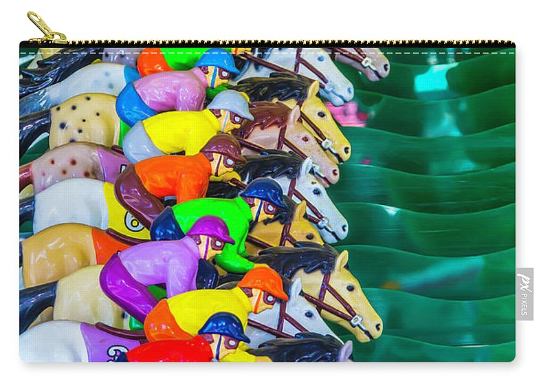 Carnival Horse Race Game Fair Carry-all Pouch featuring the photograph Horse Race Game by Garry Gay