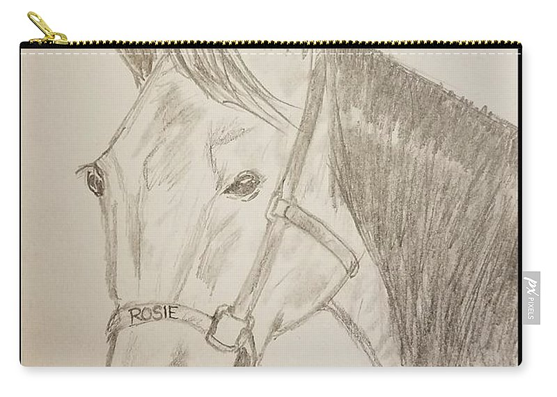 Horse Carry-all Pouch featuring the drawing Rosie The Horse by Richard Howell