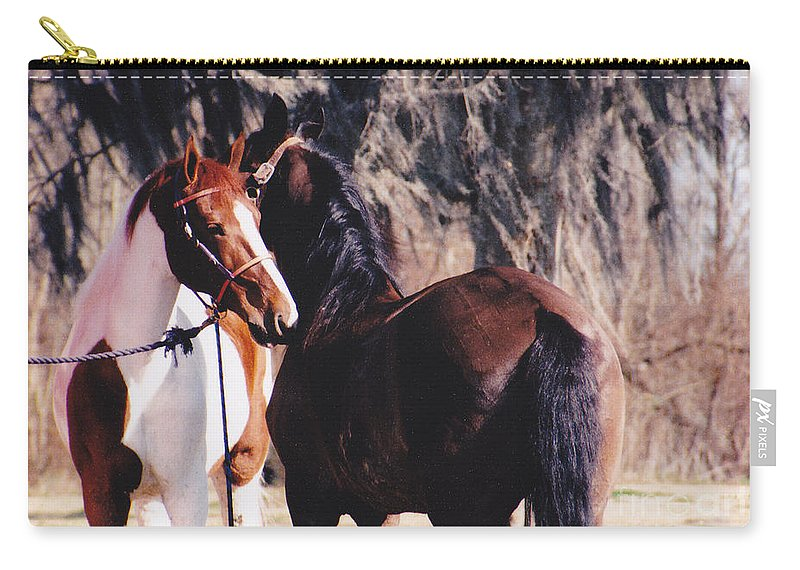 Horses Carry-all Pouch featuring the photograph Horse Talk by Michelle Powell