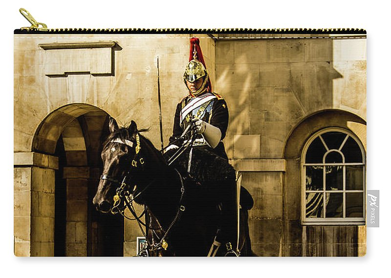 Horseguard Carry-all Pouch featuring the photograph Horseguards. by Nigel Dudson