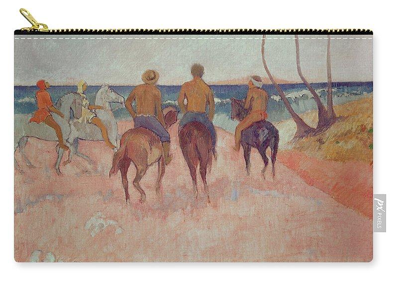 Horseman On The Beach (hiva Hoa) 1902 (oil On Canvas) By Paul Gauguin (1848-1903) Carry-all Pouch featuring the painting Horseman On The Beach by Paul Gauguin