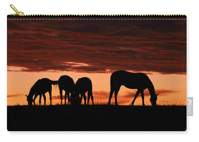 Horses Carry-all Pouch featuring the photograph Horses At Sunset by Tina Meador