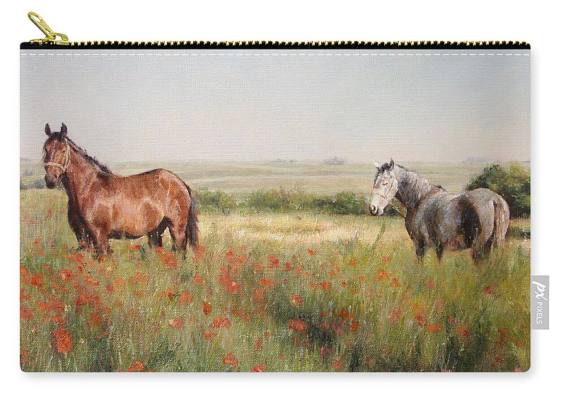 Poppy Carry-all Pouch featuring the painting Horses in a Poppy field by Darko Topalski