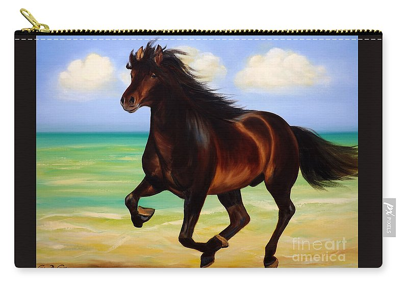 Horses Carry-all Pouch featuring the painting Horses In Paradise Run by Gina De Gorna