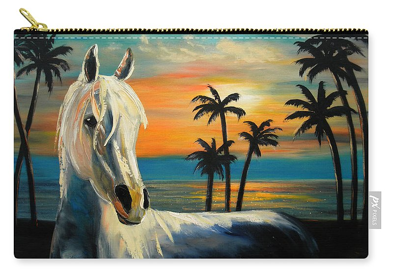 Horse Carry-all Pouch featuring the painting Horses In Paradise Tell Me Your Dream by Gina De Gorna