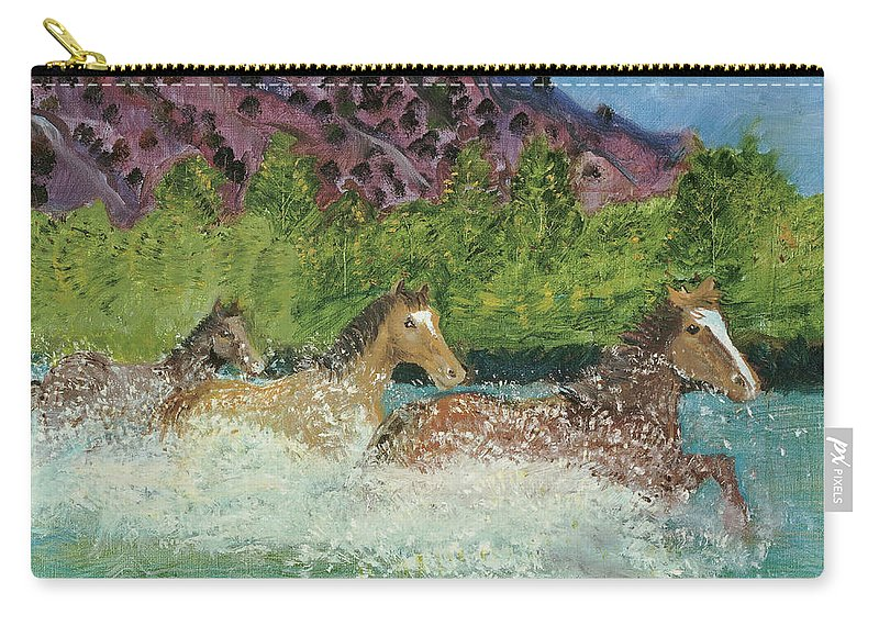 Horses Carry-all Pouch featuring the painting Horses In Stream by Terry Lewey
