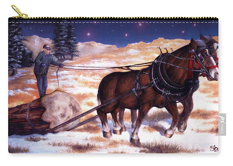 Horse Carry-all Pouch featuring the painting Horses Pulling Log by Curtiss Shaffer