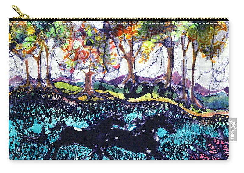 Batik. Horse Carry-all Pouch featuring the tapestry - textile Horses Running Below Hills by Carol Law Conklin