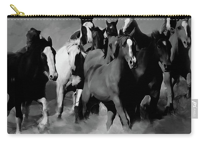 Wild Horse Carry-all Pouch featuring the painting Horses Stampede 01 by Gull G