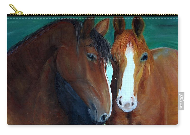 Horses Carry-all Pouch featuring the painting Horses by Taly Bar
