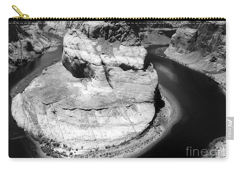 Carry-all Pouch featuring the photograph Horseshoe Bend Black And White by Heather Kirk