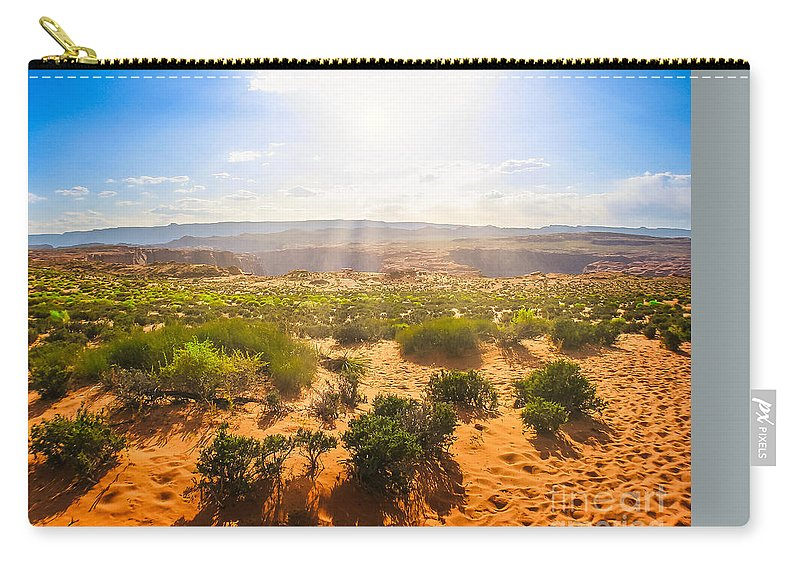 Horseshoe Bend Carry-all Pouch featuring the photograph Horseshoe Bend Desert by Benny Marty