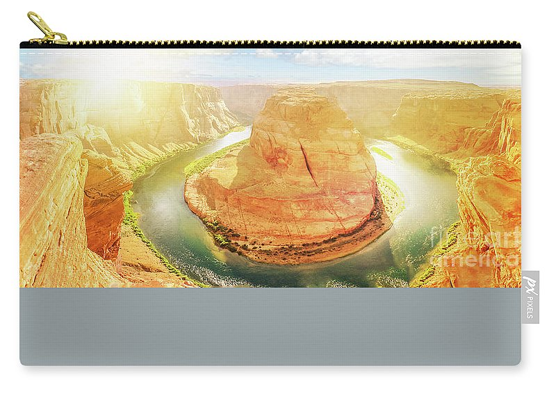 Horseshoe Bend Carry-all Pouch featuring the photograph Horseshoe Bend Sunset by Benny Marty