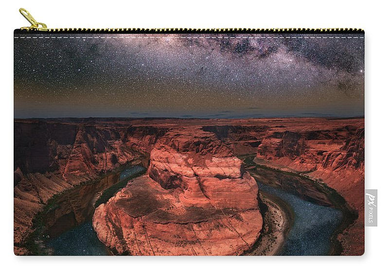 Horseshoe Bend Carry-all Pouch featuring the photograph Horseshoe Bend With Milkyway by William Freebilly photography