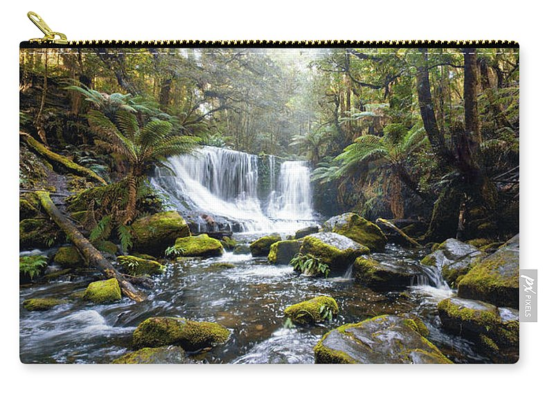 Mt Field Carry-all Pouch featuring the photograph Horseshoe Falls by Anthony Davey