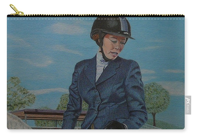 Colored Pencil Carry-all Pouch featuring the drawing Horseshow Day by Patricia Barmatz