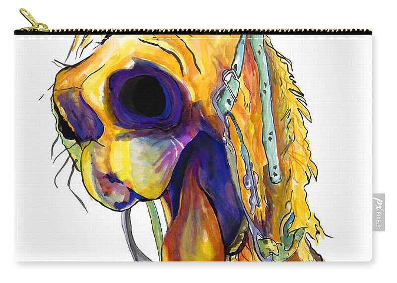 Animal Painting Carry-all Pouch featuring the painting Horsing Around by Pat Saunders-White