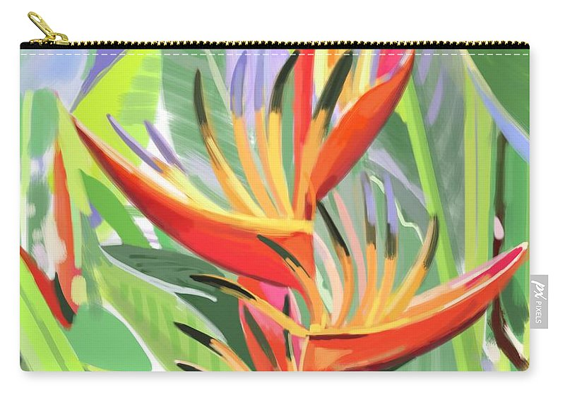 Singapore Carry-all Pouch featuring the digital art Hort Park Heliconia by Plum Ovelgonne