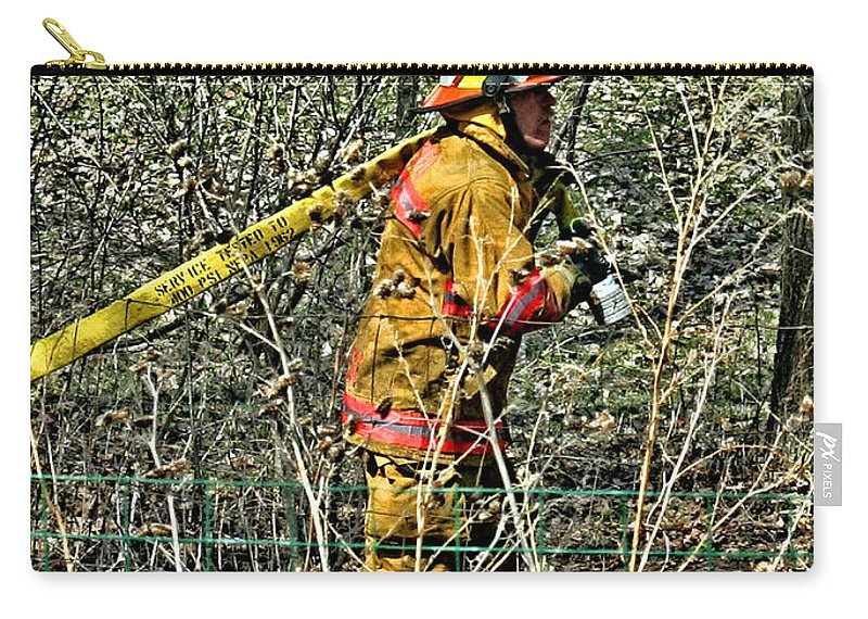 Firefighting Carry-all Pouch featuring the photograph Hose Advance by Tommy Anderson