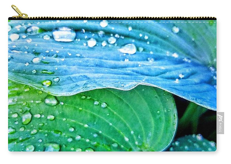 Hosta Carry-all Pouch featuring the photograph Hosta After The Rain by Rachel Hannah