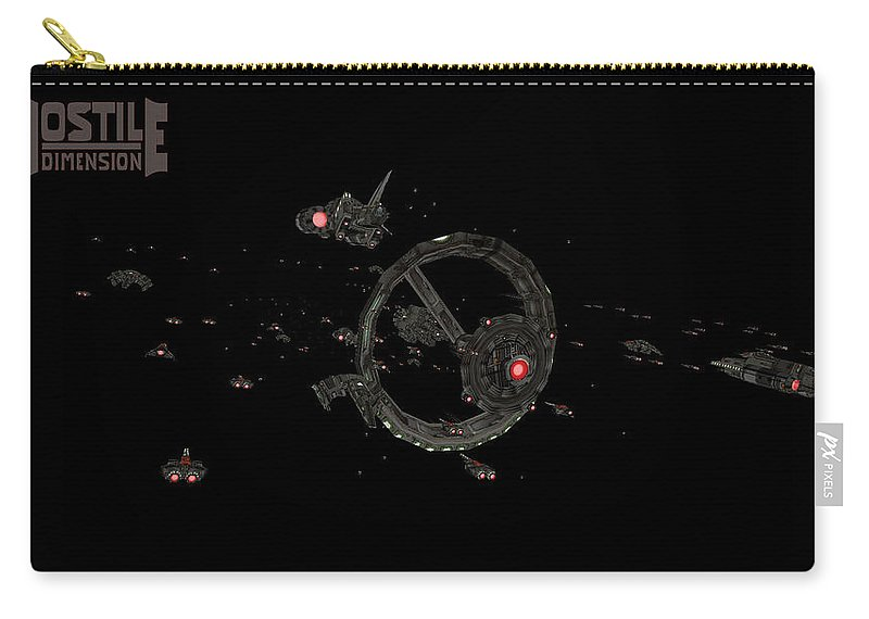 Hostile Dimension Carry-all Pouch featuring the digital art Hostile Dimension by Dorothy Binder
