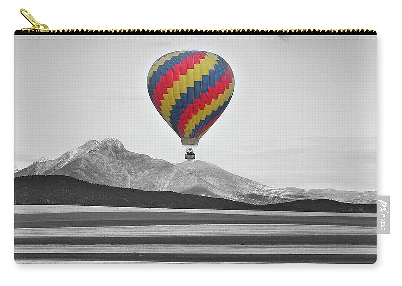 'hot Air Balloon' Carry-all Pouch featuring the photograph Hot Air Balloon And Longs Peak - Black White And Color by James BO Insogna