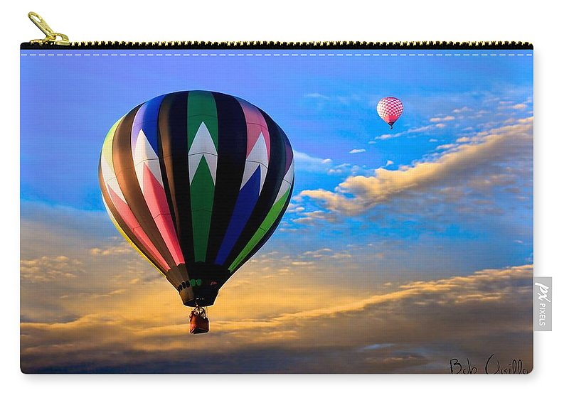 Hot Air Balloon Carry-all Pouch featuring the photograph Hot Air Balloons At Sunset by Bob Orsillo