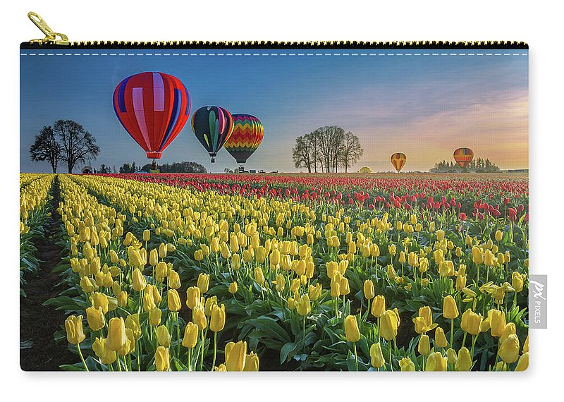 Hot Air Balloons Carry-all Pouch featuring the photograph Hot Air Balloons Over Tulip Fields by William Freebilly photography