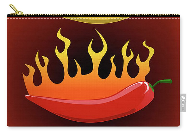 Three Carry-all Pouch featuring the digital art Hot Chilies by Andreas Berheide