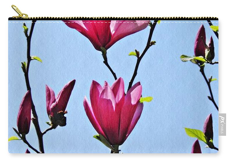 Magnolia Carry-all Pouch featuring the photograph Hot Pink Magnolias by Sarah Loft