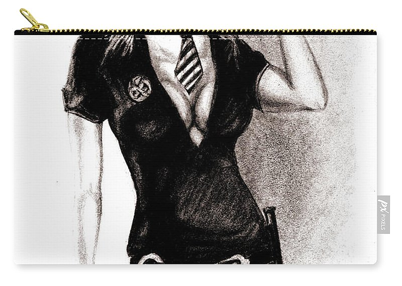 Police Carry-all Pouch featuring the drawing hot Police unifome by Alban Dizdari