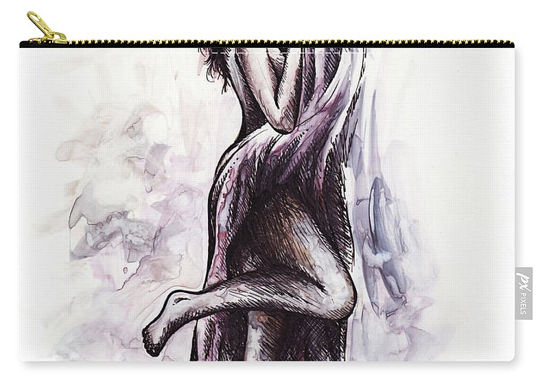 Figure Carry-all Pouch featuring the drawing Hot by Rachel Christine Nowicki