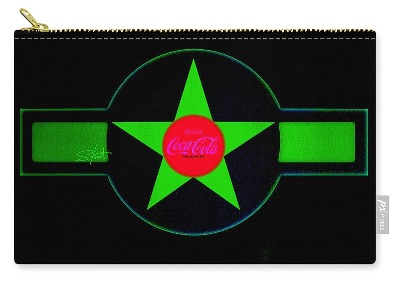 Label Carry-all Pouch featuring the painting Hot Red On Cool Green by Charles Stuart